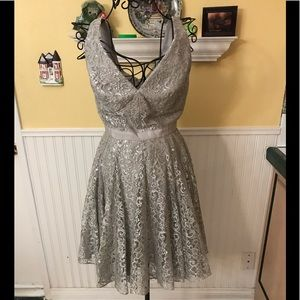 Adrianna Papell Sz 4 party/prom dress silver lace